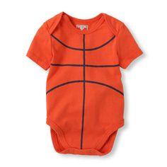 Newborn Baby Boys Short Sleeve Basketball Little Talker Bodysuit - Orange - The Children's Place