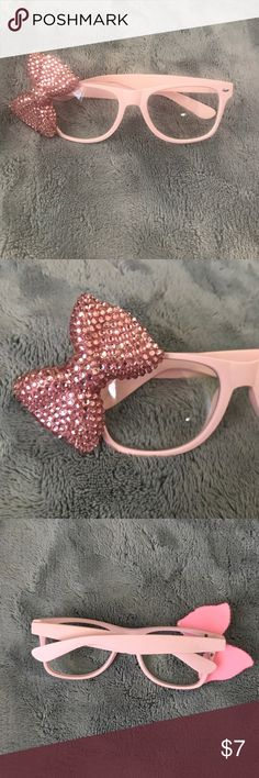 Cute pink glasses w/ bow! Fun, cute pink glasses with a bow || loose screw --- can be fixed with some hot glue to keep bow in place || no major scratches on lens || Accessories Sunglasses