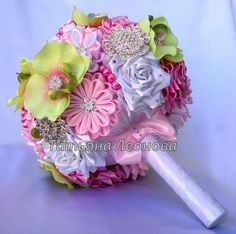 SALE Fabric Wedding Bouquet Brooch bouquet Grace Pink and by LIKKO