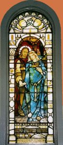 1906 Stained glass window in Kilmore Church, Dervaig, on the Scottish Isle of Mull by Stephen Adam - strangely Jesus seems to be hugging his pregnant mother - though some say it's Mary Magdalene. Mary Magdalene And Jesus, Mary And Jesus, Stained Glass Angel, Stained Glass Windows, Pierre Loti, Wine Bottle Wall, Wine Bottles, Marie Madeleine, Glass Wall Art