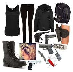 """When zombies attack:P"" by pey-pey99 ❤ liked on Polyvore featuring James Perse, M.i.h Jeans, The North Face, Madden Girl, Holster, Handle and Victorinox Swiss Army"