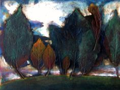 Falltime  original Collograph print Artist's by IzzyVerenaFineArt, $200.00