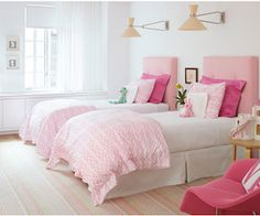 Some Spring Shopping at One Kings Lane | remodelicious - look at this beautiful pink and white girls room for two!