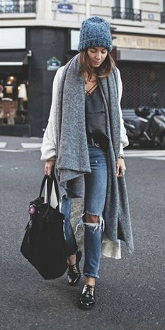 Zoé Alalouch + epitomised + casual sophistication + pair of distressed denim jeans + boyfriend style maxi coat + oversized chunky scarf + Zoe + winter feel!  Gilet: American Vintage, Top: H&M, Scarf: American Vintage, Jeans: Rachel Mango, Shoes: Jonak.