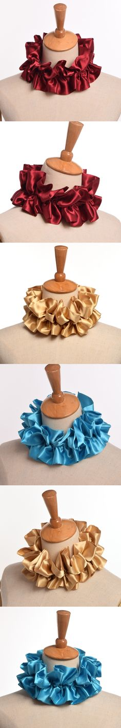 1pc Vintage Victorian Ruffled Neck Ruff Collar Unisex Satin Choker Cosplay Accessory Blue/Gold/Red