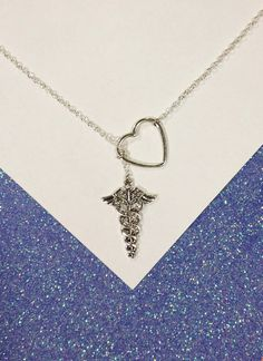 Medical, Nurse, Athletic Trainer, Doctor Lariat Necklace with Rhinestones, Heart,  and Caduceus Charms