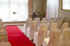 Civil Ceremony room all set for the wedding at Whirlowbrook Hall, Sheffield