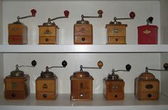 Coffee Machines Archives - A Coffee Culture Antique Coffee Grinder, Coffee Grinders, Coffee Culture, Pot Sets, Vintage Coffee, Displaying Collections, Green And Brown, Coffee Maker, Collection Displays