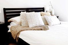 Shades of white on white pillows & bedding - beautiful!!!