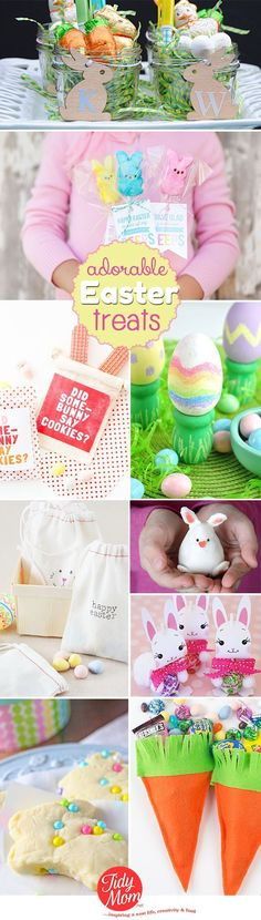 Hop to it! These delicious and fun Easter treats and crafts are easy to make and an egg-cellent ways to celebrate.  Details at http://TidyMom.net