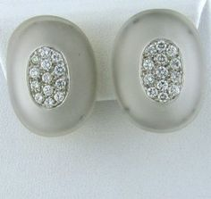 Vintage Gold 1.20ctw Diamond Frosted Crystal Earrings http://hamptonestateauction.com/