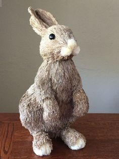 Pottery Barn XLG Sisal Cottontail Bunny Rabbit Figure Easter 2015 Natural Straw