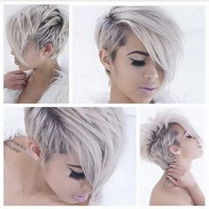 Snow white hair color and adorable short haircut and hairstyle Pixie Cut Styles, Short Hair Styles, Pixie Cuts, Love Hair, Great Hair, Pixie Hairstyles, Pretty Hairstyles, Pixie Haircuts, Children Hairstyles