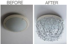 Simple DIY beaded chandelier - transform an ugly light fixture to a glitzy focal point!