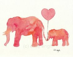 Mom and Baby Elephant Holding Heart Balloon, Original Watercolor Painting, 8x10 Illustration, Pink, Coral