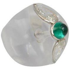 Bombe Rock Crystal Emerald Diamond Ring by Suzanne Belperron