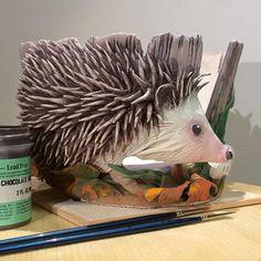 Earth Wool Fire | Hedgehog coloured and ready to be glazed.  Custom...