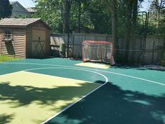 28x34 Basketball-Hockey Court - Ready for play!  Now your kids have a reason to play in the backyard.  Active kids = Healthy kids Court surface is DuraCourt from SnapSports