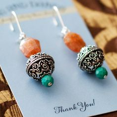 Sunstone, Peruvian Turquoise and Sterling Bead Earrings