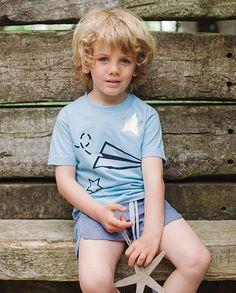 Short moderno lino azul bicolor | Corazón de león KIDS moda infantil
