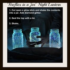Glitter Fireflies  FB post comments say the glow lasts 6 – 8 hours  When you shake it the glow liquid coats the glitter and it clings to the sides of the jar.  Diamond Glitter is highly reflective glitter which looks like diamond dust when light hits it. Any holographic, Mylar or pixie dust glitter would work.  From facebook.com/GypsysMeltingPot
