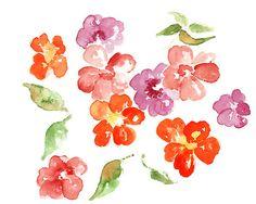 Color acuarela flor Art Print pintura de por LightheartedDreamer, $17.00