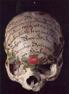 """frenchtwist: """" via kirgiakos: """" Painted Human Skull Bavaria , Germany, century The tradition of skull painting began in when members of the deceased's family started painting flowers and. Memento Mori, Vanitas, Dragon Oriental, Steampunk Accessoires, Skull Painting, Skull Artwork, Skull And Bones, Creepy, Scary Art"""