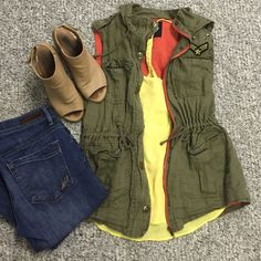 Darling military vest Darling military vest. Lined in coral. Star snaps. Has a hood. Lots of fun details. Gently used only worn a few times. Size medium purchased at bohme boutique. (Yellow tank in separate listing) clean smokefree home. ⭐️make an offer⭐️ Love tree Jackets & Coats Vests