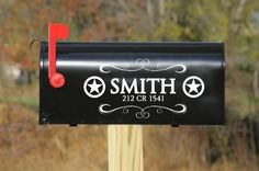 Texas Star & Swirl Vinyl Mailbox Decal with Personalized Name and Address Vinyl Wall Art, Vinyl Decals, Mailbox Decals, Texas Star, Wall Art Designs, Vinyl Designs, Beautiful Sites, Cricut Creations, Western Decor