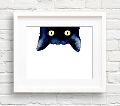 Sneaky Black Cat - Art Print - Wall Decor - Watercolor Painting by EveryDayShenanigans on Etsy https://www.etsy.com/listing/243930018/sneaky-black-cat-art-print-wall-decor