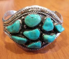Navajo SLEEPING BEAUTY MINE Turquoise Bracelet Sterling Silver Cuff Bracelet