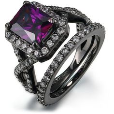 Amazon.com: Women's Stainless Steel Purple Zircon Black Engagement... ($11) ❤ liked on Polyvore featuring jewelry, rings, zircon jewelry, purple jewellery, wedding rings jewelry, wedding band jewelry and stainless steel rings