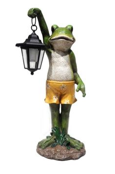 New Charming Frog Garden Patio Statue Holding Solar Lantern Yard Outdoor Decor