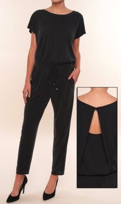 Love this full length jumpsuit from Splendid in a gorgeous washed black jersey