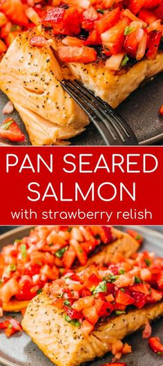 Perfect pan seared salmon fillets with a fresh strawberry relish! Learn how to cook an easy and healthy salmon dinner that is keto and pale. Salmon Recipes, Fish Recipes, Seafood Recipes, Pasta Recipes, Healthy Recipes, Keto Recipes, Chinese Lemon Chicken, Vegan Pizza Recipe, Salmon Dinner