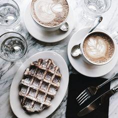 #breakfast #latte #waffle