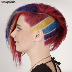 WEBSTA @ doug_theo - Rainbow undercut with color and my Shaved Nape, Shaved Sides, Creative Hair Color, Cool Hair Color, Short Hair Designs, Short Hair Styles, Pixie Hairstyles, Cool Hairstyles, Shaved Hairstyles