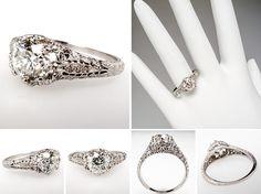 Antique Filigree Diamond Engagement Ring Platinum Stunning - EraGem