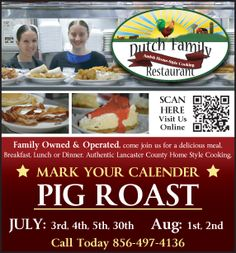 Join the Dutch Family Restaurant for breakfast, lunch or dinner; or visit them for the Early Bird Special. Learn more here Amish Market, Cooking Restaurant, Amish House, Breakfast Restaurants, Pig Roast, Dutch, Yummy Food, Meals, Dinner