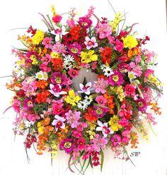 Summer Wreath-Wildflower-Orchid by SeasonalWreaths on Etsy