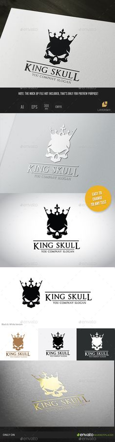 Buy King Skull by LayerSky on GraphicRiver. Logo Template Features Scalable Vector Files Everything is editable Everything is resizable Easy to edit color /. Skull Logo, Skull Art, Web Design, Skull Design, Logo Branding, Branding Design, Logo Luxury, Petit Tattoo, Crown Logo