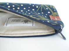 Cotton Zipper Pouch / Cosmetic Bag / Navy with Plants - I like the little, leather detail