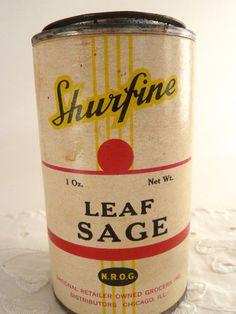 Leaf Sage Spice Container 1 oz. Shurfine by BonniesVintageAttic, $19.50