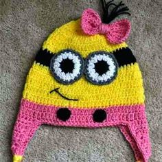 Croche pro Bebe: Gorros e chapéu em croche achados na net Baby Knitting, Minions, Winter Hats, Crochet Hats, Beanie, Knitted Hats, Beret, Tricot, Characters