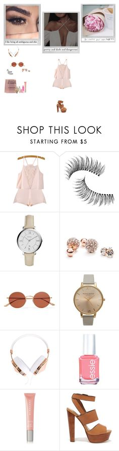"""""""She'll Make You Say Things , You Swore You'd Never Say"""" by smil-ly ❤ liked on Polyvore featuring Trish McEvoy, FOSSIL, GUESS, Maybelline, Polaroid, Oliver Peoples, KEEP ME, Olivia Burton, Frends and Essie"""