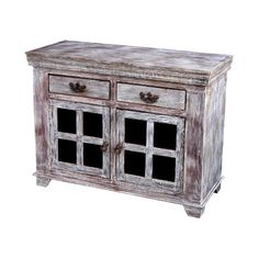 Good Earth Reclaimed Wood 8-Glass Panel Sideboard
