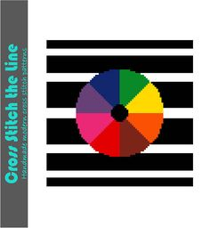 Fun rainbow beach ball. Minimalist colour wheel. Modern cross