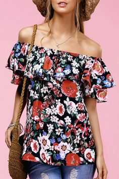 $14.04 Fashionable Off The Shoulder Floral Print Ruffle Top For Women - Black