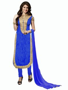 Blue embroidered banglori silk semi stitched salwar with dupatta