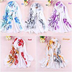 Hot-Women-Chiffon-Silk-Flower-Long-Soft-Neck-Scarf-Shawl-Wrap-Scarves-Stole-W072